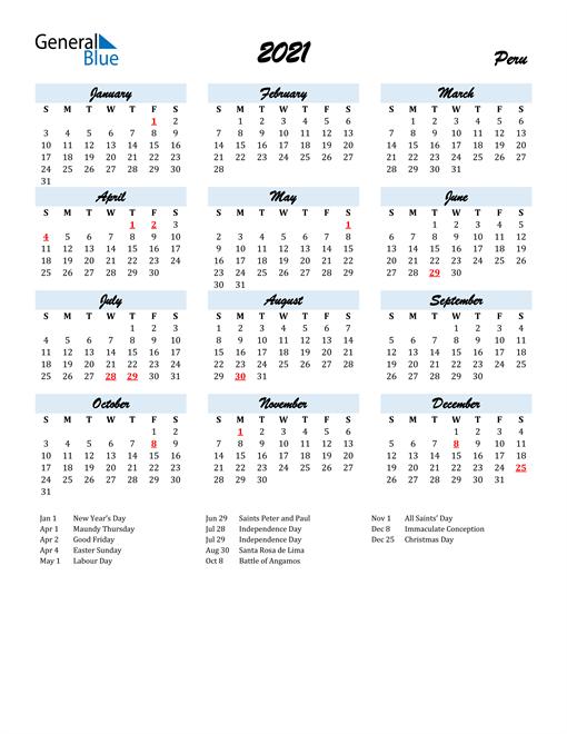 2021 Calendar for Peru with Holidays