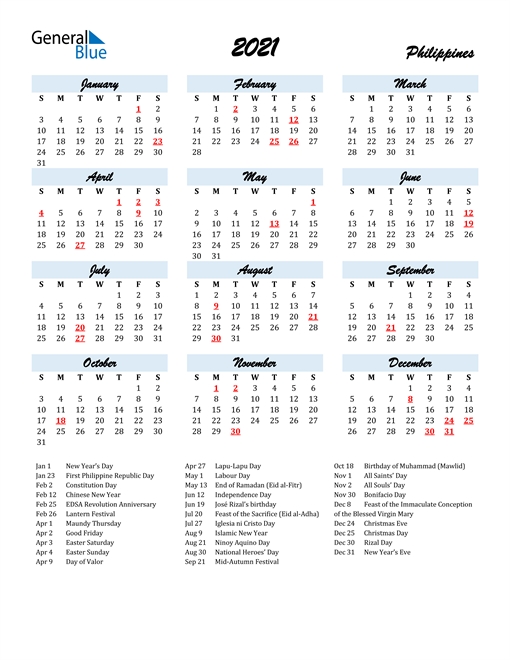 2021 Calendar for Philippines with Holidays