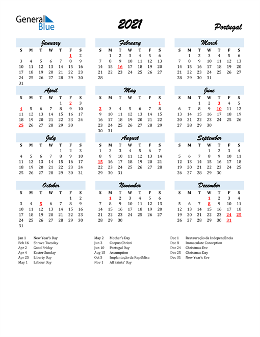 2021 Calendar for Portugal with Holidays