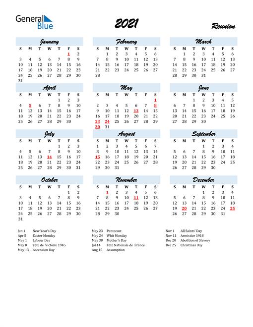 2021 Calendar for Reunion with Holidays