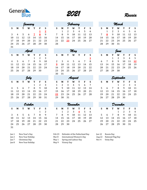 2021 Calendar for Russia with Holidays