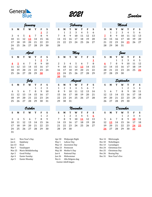 Image of 2021 Calendar in Script for Sweden