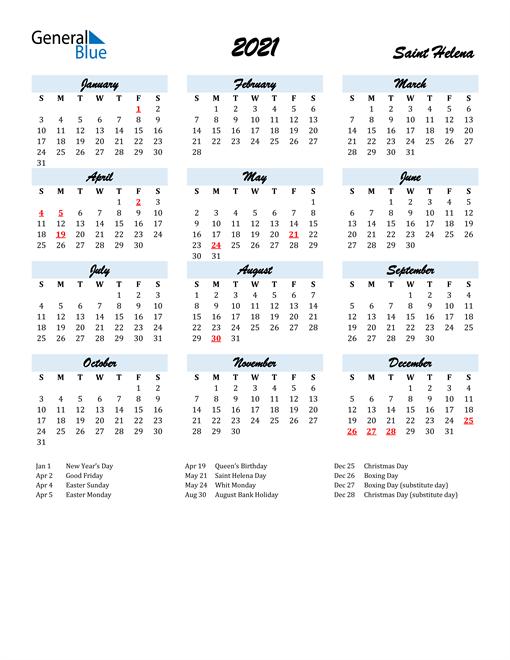 2021 Calendar for Saint Helena with Holidays