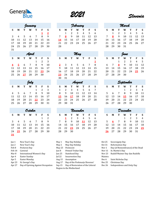 2021 Calendar for Slovenia with Holidays