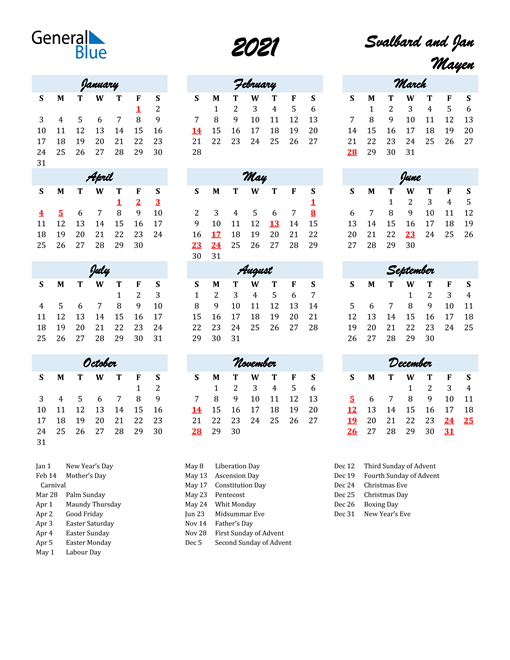 2021 Calendar for Svalbard and Jan Mayen with Holidays