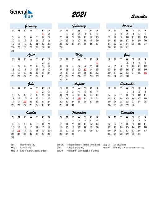Image of 2021 Calendar in Script for Somalia