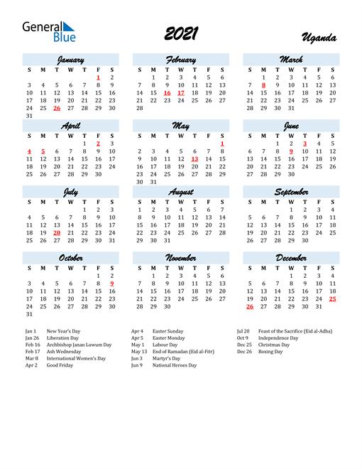 2021 Calendar for Uganda with Holidays