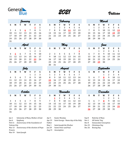 2021 Calendar for Vatican with Holidays
