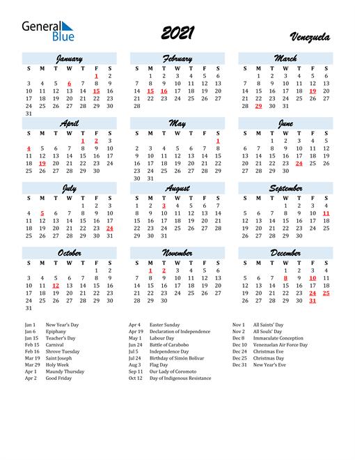 2021 Calendar for Venezuela with Holidays
