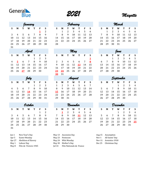 2021 Calendar for Mayotte with Holidays