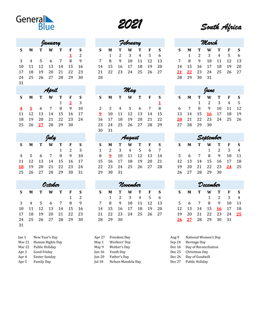 Image of 2021 Calendar in Script for South Africa