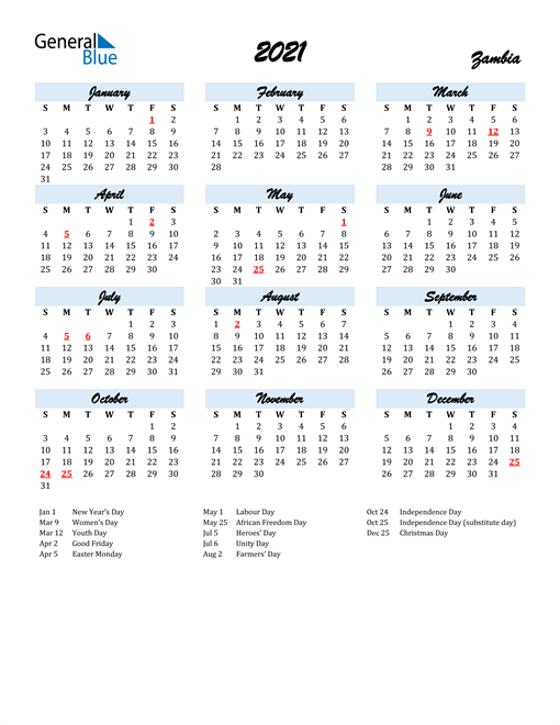 2021 Calendar for Zambia with Holidays