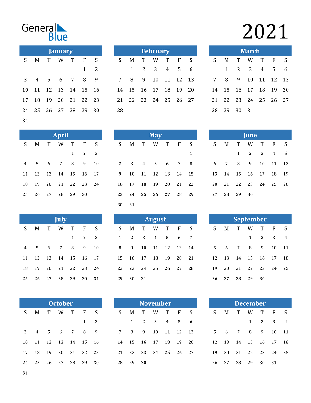 Calendar For 2021 2021 Calendar (PDF, Word, Excel)