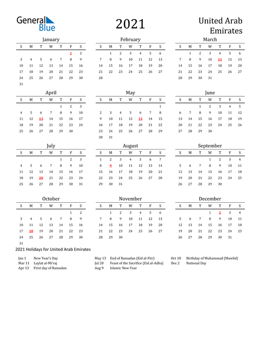Image of 2021 Printable Calendar Classic for United Arab Emirates with Holidays