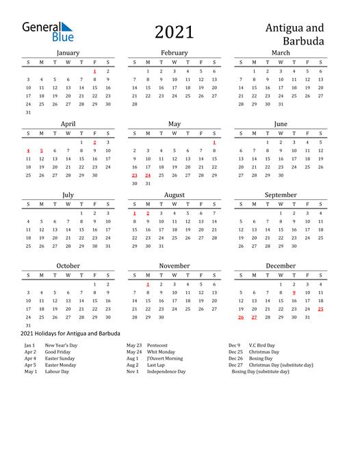 Antigua and Barbuda Holidays Calendar for 2021