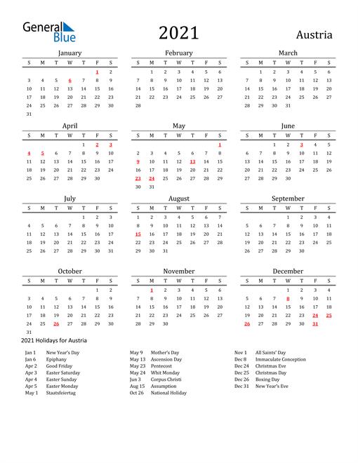 Image of 2021 Printable Calendar Classic for Austria with Holidays