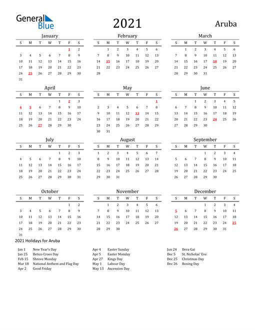 Aruba Holidays Calendar for 2021