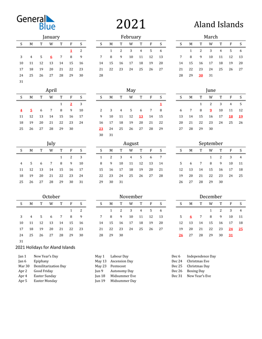 Image of 2021 Printable Calendar Classic for Aland Islands with Holidays