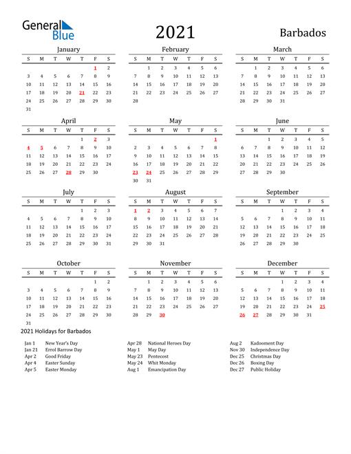 Barbados Holidays Calendar for 2021