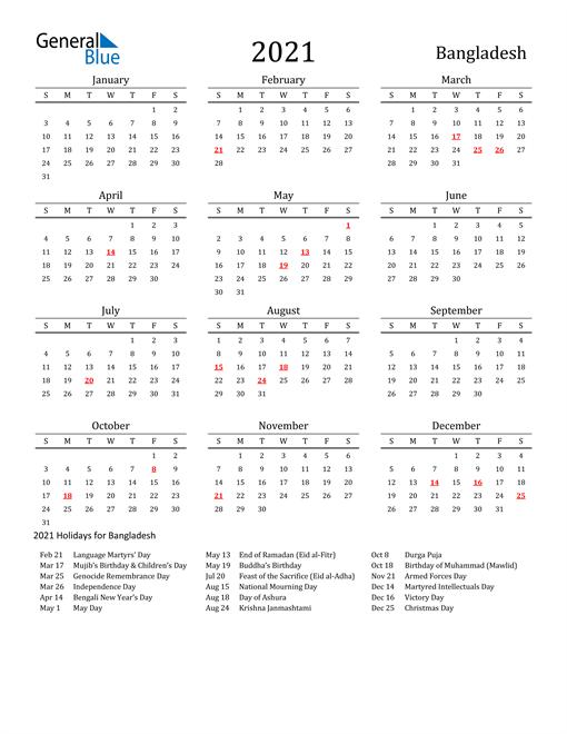 Bangladesh Holidays Calendar for 2021