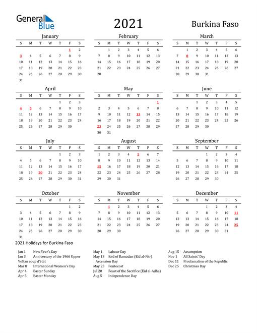 Burkina Faso Holidays Calendar for 2021