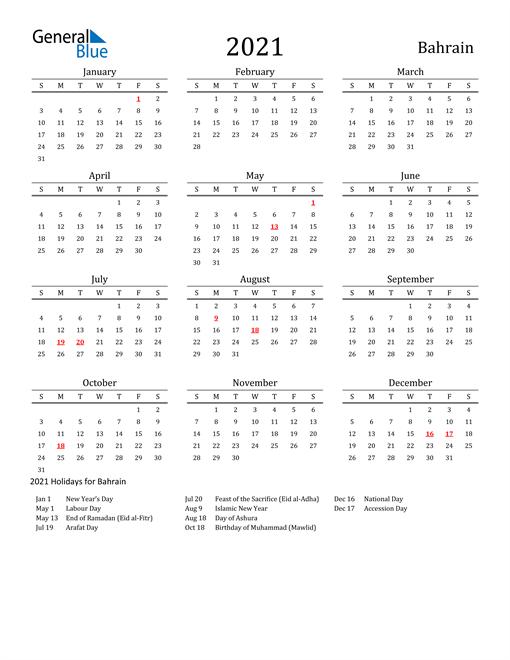 Bahrain Holidays Calendar for 2021