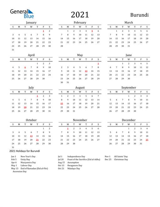 Burundi Holidays Calendar for 2021