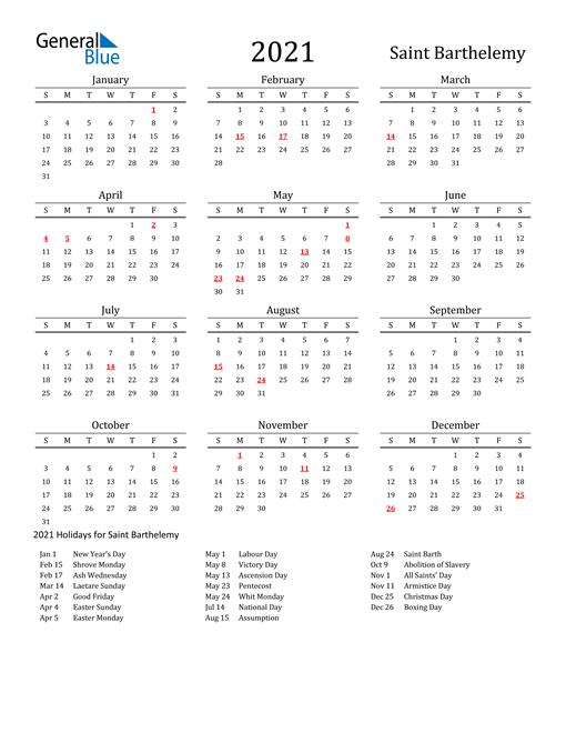 Saint Barthelemy Holidays Calendar for 2021