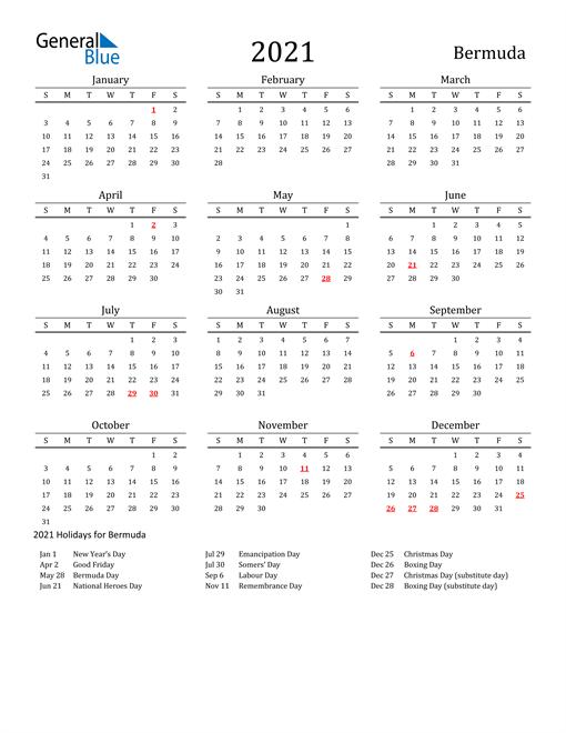 Bermuda Holidays Calendar for 2021