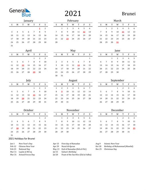 Brunei Holidays Calendar for 2021
