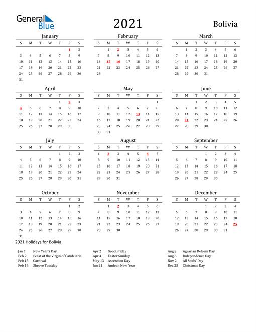 Bolivia Holidays Calendar for 2021