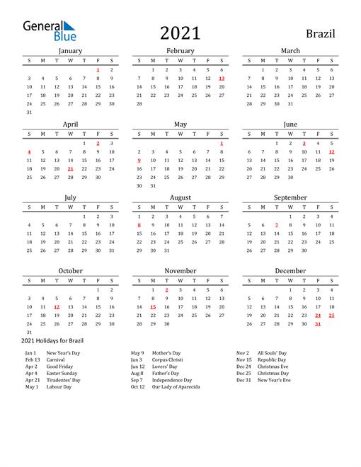 Brazil Holidays Calendar for 2021