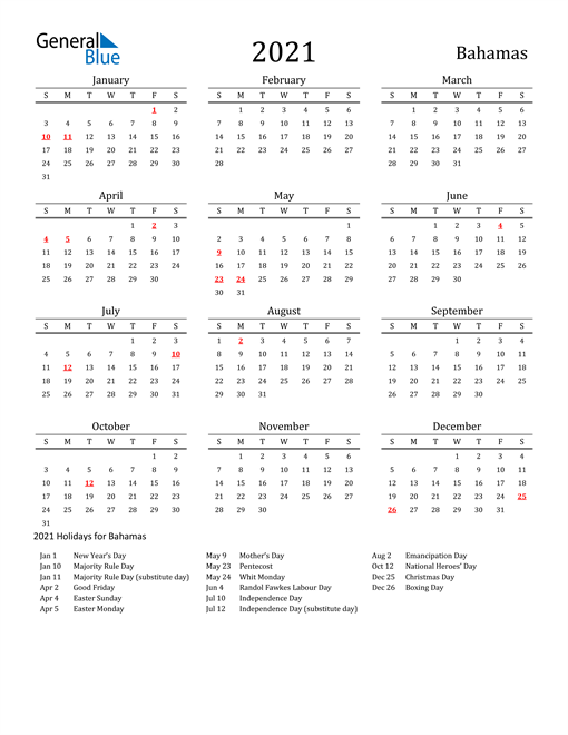 Image of 2021 Printable Calendar Classic for Bahamas with Holidays