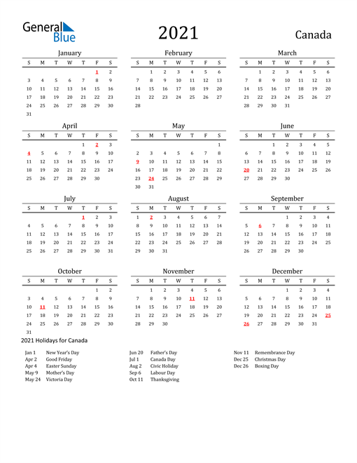 Canada Holidays Calendar for 2021
