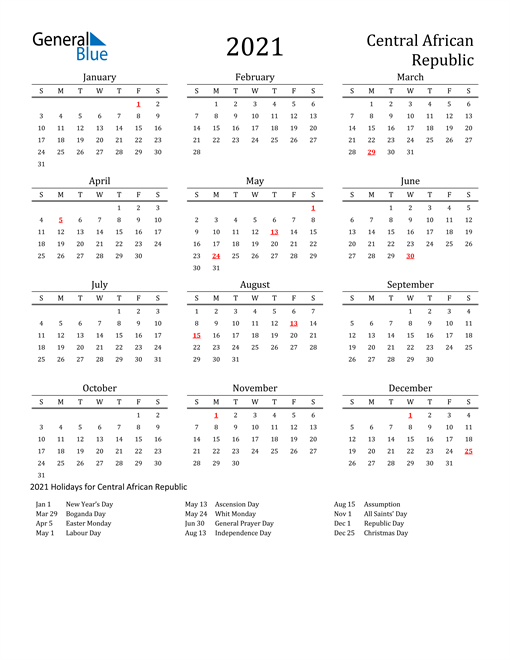 Central African Republic Holidays Calendar for 2021