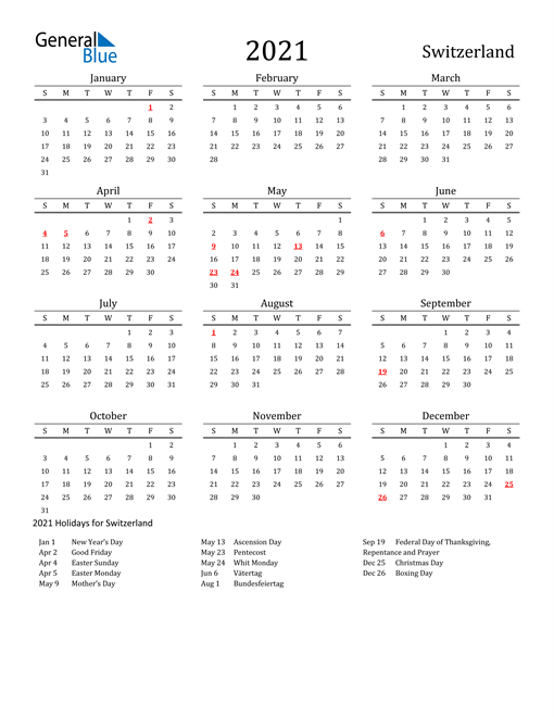 Image of 2021 Printable Calendar Classic for Switzerland with Holidays