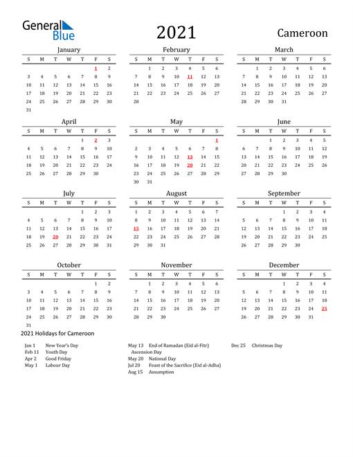 Cameroon Holidays Calendar for 2021