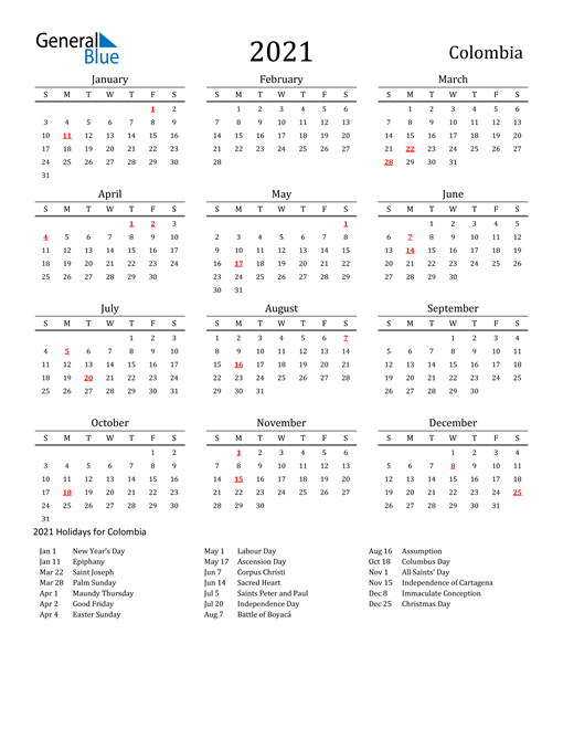 Image of 2021 Printable Calendar Classic for Colombia with Holidays