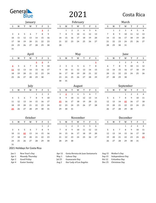 Image of 2021 Printable Calendar Classic for Costa Rica with Holidays