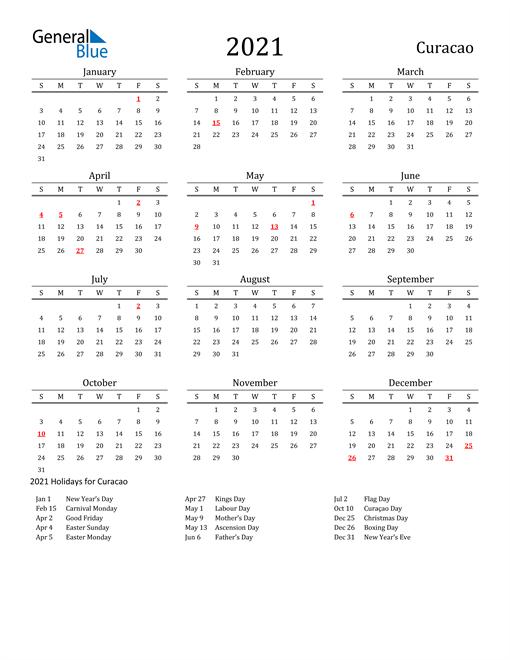 Curacao Holidays Calendar for 2021