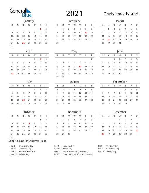Christmas Island Holidays Calendar for 2021