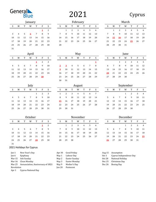 Cyprus Holidays Calendar for 2021