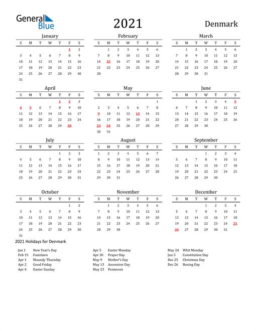 Denmark Holidays Calendar for 2021