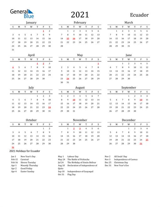 Ecuador Holidays Calendar for 2021