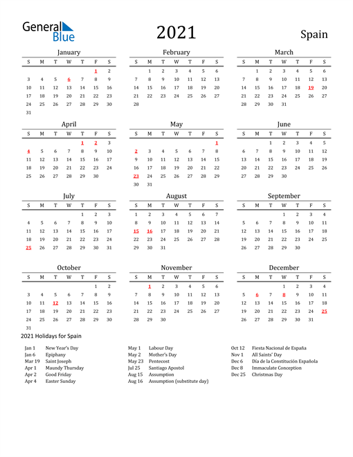 Image of 2021 Printable Calendar Classic for Spain with Holidays