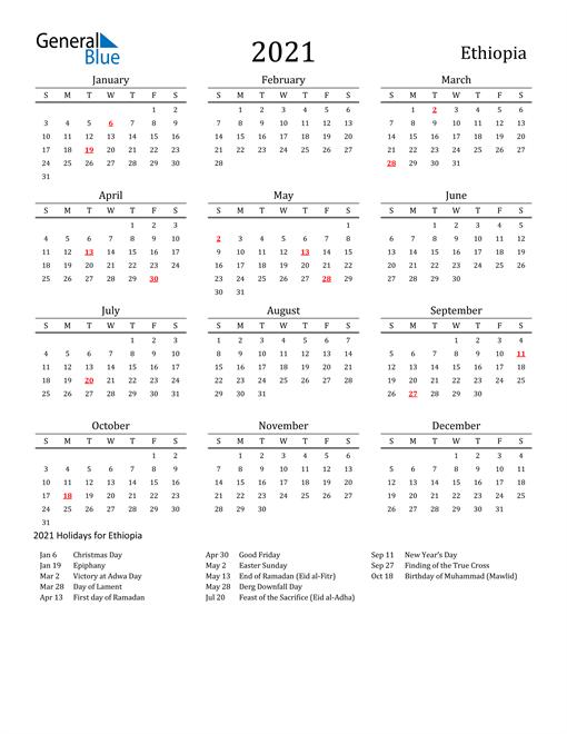 Ethiopia Holidays Calendar for 2021