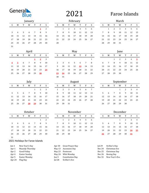 Faroe Islands Holidays Calendar for 2021