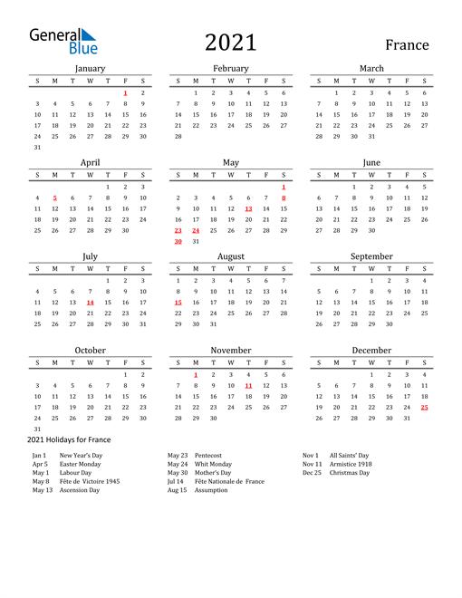 France Holidays Calendar for 2021