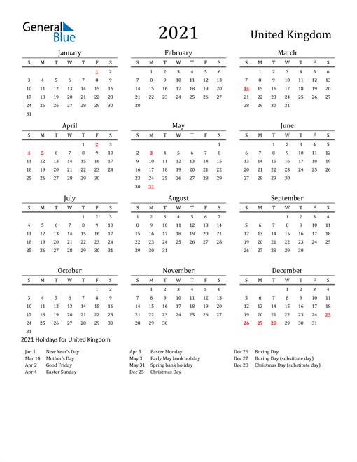 2021 Calendar - United Kingdom with Holidays