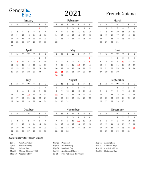 Image of 2021 Printable Calendar Classic for French Guiana with Holidays